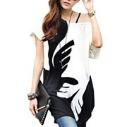 Relipop Women Batwing Sleeve Shirt Bohemian Long Tunic Tops Summer Blouse (Small, Black and White)
