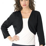 Roamans Women's Plus Size Cropped Bolero Cardigan – 1X, Black