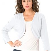 Roamans Women's Plus Size Cropped Bolero Cardigan – 1X, White