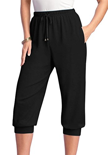 Roamans Women's Plus Size Drawstring Knit Capris Black,S