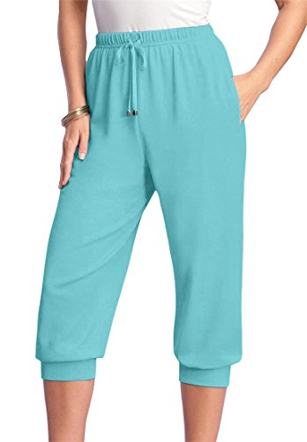 Roamans Women's Plus Size Drawstring Knit Capris Pacific Blue,M