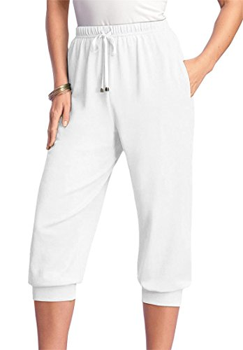 Roamans Women's Plus Size Drawstring Knit Capris White,S