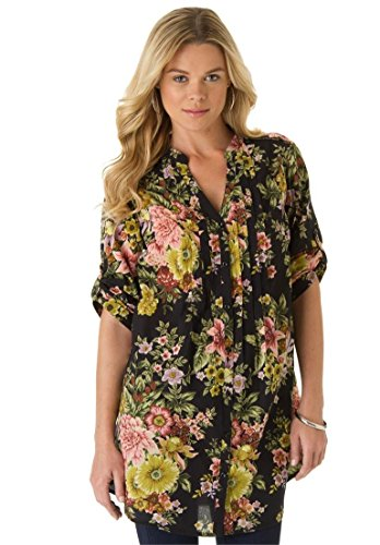 Roamans Women's Plus Size English Floral Tunic Black,12 W