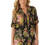 Roamans Women's Plus Size English Floral Tunic Black,28 W
