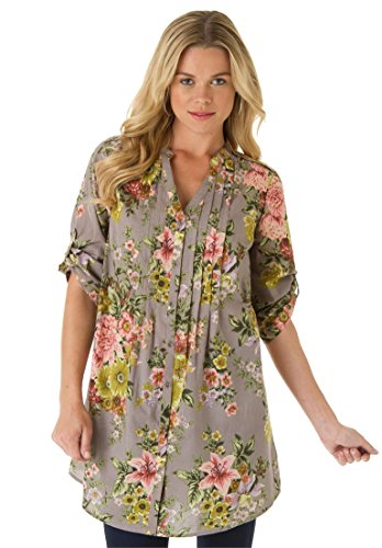 Roamans Women's Plus Size English Floral Tunic – 22 Plus, Grey