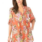 Roamans Women's Plus Size English Floral Tunic Orange Zest,20 W