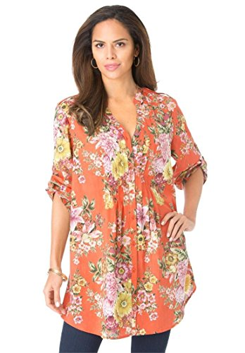 Roamans Women's Plus Size English Floral Tunic Orange Zest,12 W
