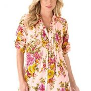 Roamans Women's Plus Size English Floral Tunic Pale Blush,12 W