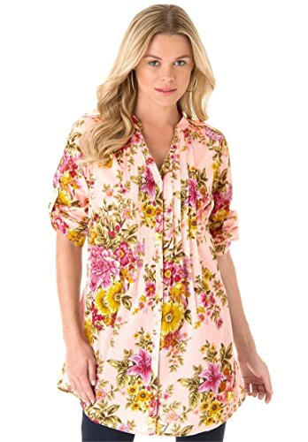 Roamans Women's Plus Size English Floral Tunic Pale Blush,30 W