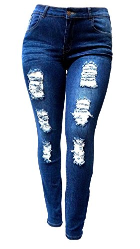 SL-1826-WOMENS-PLUS-SIZE-Stretch-Distressed-Ripped-BLUE-SKINNY-DENIM-JEANS-PANTS-0