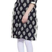 Long Sleeve V-neck Black Print Cotton Dress – Unique Women's Fashions – Size: 32…Length-38 Inch, Bust- 36 Inch