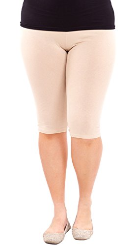 Clothes Effect Woman Plus Size Elastic Waist Cotton Capri Leggings,USA Made, Multiple Colors Available – X-Large, Tan