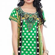 Trendy Cotton spun butta Kurti Tunic Top in Multi Styles and Colors – Medium, E1033-LimeGreen