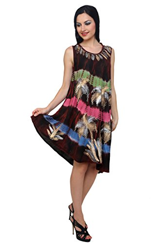 Trendzart Palm Tree Beach coverup Tank Caftan Umbrella Tunic Blouse – Wine+Green+Pink+Blue