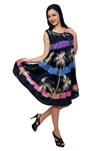 Trendzart Palm Tree Beach coverup Tank Caftan Umbrella Tunic Blouse – Lavender+Purple+Blue+Pink