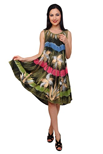 Trendzart Palm Tree Beach coverup Tank Caftan Umbrella Tunic Blouse – Olive+Blue+Pink+Green