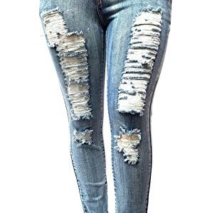 WOMENS-PLUS-SIZE-Acid-Wash-Distressed-Ripped-BLUE-SKINNY-DENIM-JEANS-PANTS-0