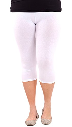 Clothes Effect Woman Plus Size Elastic Waist Cotton Capri Leggings,USA Made, Multiple Colors Available – X-Large, White