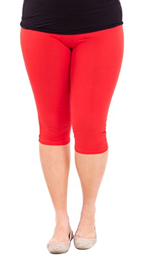 Clothes Effect Woman Plus Size Elastic Waist Cotton Capri Leggings,USA Made, Multiple Colors Available – 3X Plus, Red