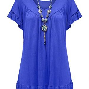 Womens-Plus-Size-Frill-Necklace-Gypsy-Tunic-V-Neck-Top-US-8-26-0