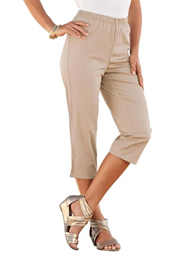 Women's Plus Size Stretch Capris – 14 Plus, New Khaki