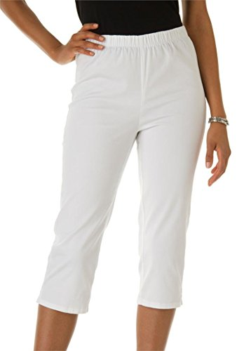 Women's Plus Size Stretch Capris – 26 Plus, White