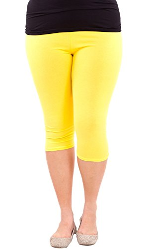 Clothes Effect Woman Plus Size Elastic Waist Cotton Capri Leggings,USA Made, Multiple Colors Available – 2X Plus, Yellow