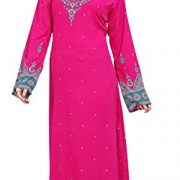 BombayFashions Women's Long Printed Kaftan/Abaya Dress Long Sleeve Blouse Tunic – Small, K226 S2 PINK