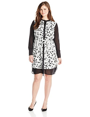 DKNYC-Womens-Plus-Size-Chiffon-Pieced-Shirt-Dress-0