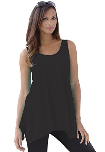 Jessica London Women's Plus Size Sharktail Tank – 22-24 Plus, Black