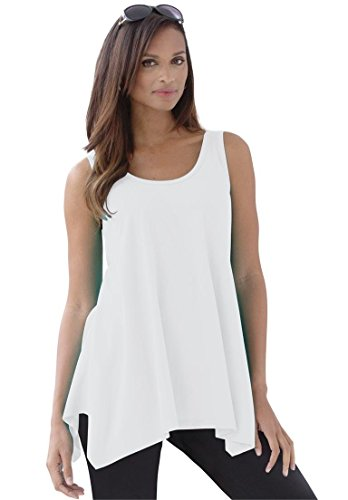Jessica London Women's Plus Size Sharktail Tank – 14-16 Plus, White