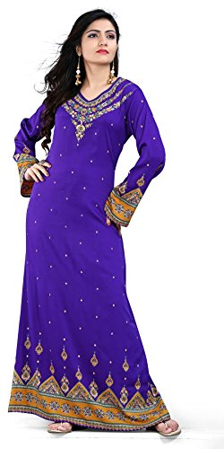 BombayFashions Women's Long Printed Kaftan/Abaya Dress Long Sleeve Blouse Tunic – Small, K226 S3 PURPLE