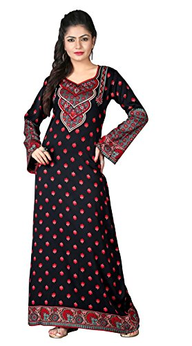 BombayFashions Women's Long Printed Kaftan/Abaya Dress Long Sleeve Blouse Tunic – XXX-Large, Kaftan 171 s3
