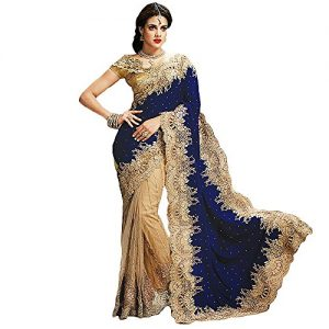 Shree-Designer-Sarees-Womens-Bedeck-Cream-Blue-Georgette-On-Net-Saree-0