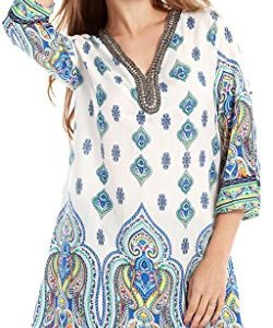 Ababalaya-Womens-Turkey-Tunic-Top-Kurti-Printed-Blouse-India-Long-Blouse-0
