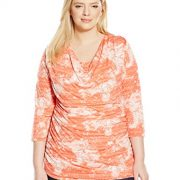 Allison-Brittney-Womens-Plus-Size-Cowl-Neck-34-Sleeve-Side-Rouching-Top-0