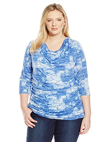 Allison Brittney Women's Plus-Size Cowl Neck 3/4 Sleeve Side Rouching Top – 2X, Blue