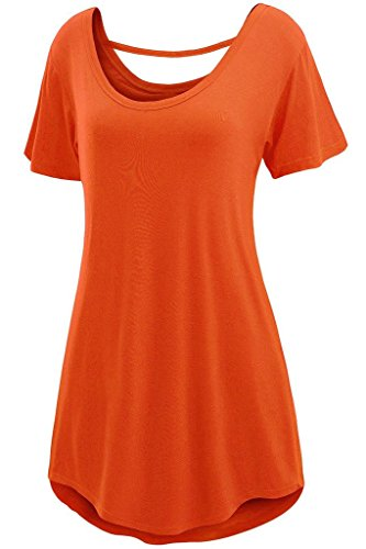 Chase Secret Womens Summer Cross Back Basic Loose Fit Tunic Top – Small, Orange