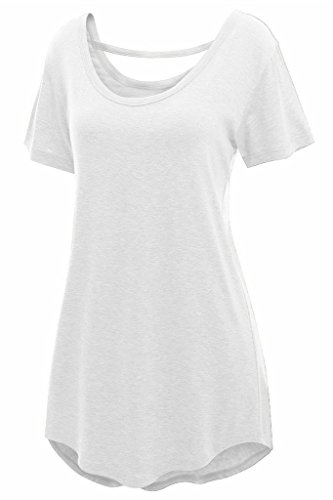 Chase Secret Womens Summer Cross Back Basic Loose Fit Tunic Top – Small, White
