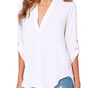 Dokotoo-Womens-Casual-Chiffon-Ladies-V-Neck-Cuffed-Sleeve-Blouse-Tops-S-XXL-0