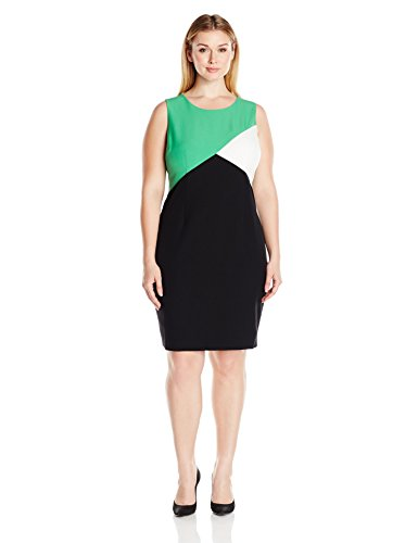 Kasper-Womens-Plus-Size-Color-Block-Stretch-Crepe-Sheath-Dress-0