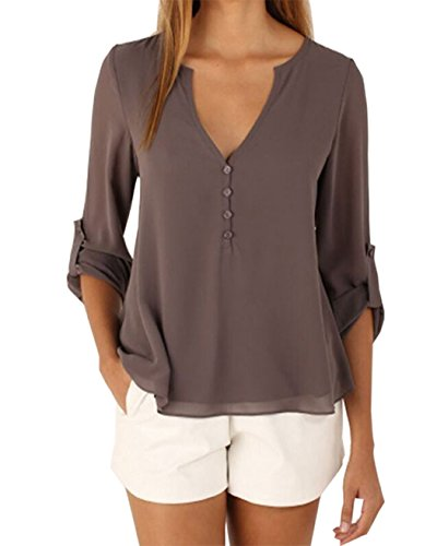 Women long sleeve v neck see through back sheer button up for Shirts with see through backs
