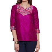 Womens-Accessories-Women-Faux-Silk-Polyester-Kurti-Top-Purple-0