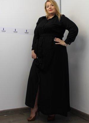 Φόρεμα μεγάλα μεγέθη σεμιζιέ μαύρο ζωνάκι καλές τιμές