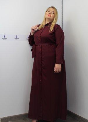 Φόρεμα μεγάλα μεγέθη σεμιζιέ μπορντό ζωνάκι καλές τιμές