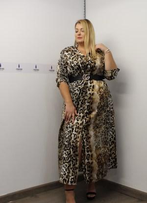 Φόρεμα σεμιζιέ με δέσιμο στα μανίκια και ζωνάκι στη μέση