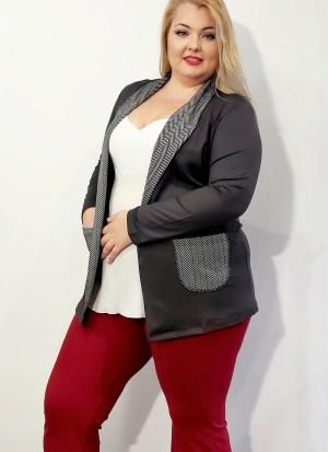 Ζακέτα μεγάλα μεγέθη λεπτή γκρι τύπου blazer με τσέπες