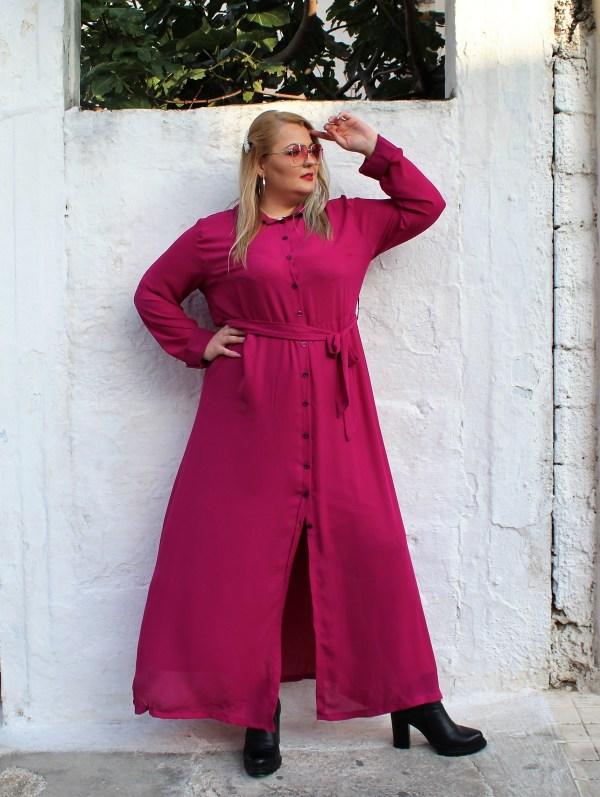 Φόρεμα μεγάλα μεγέθη σεμιζιέ φούξια ζωνάκι καλές τιμές