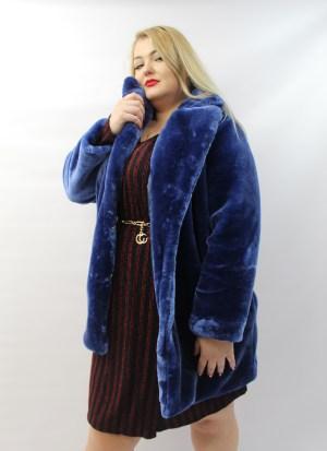 Γούνα μεγάλα μεγέθη μπλε με τσέπες και κουμπιά.