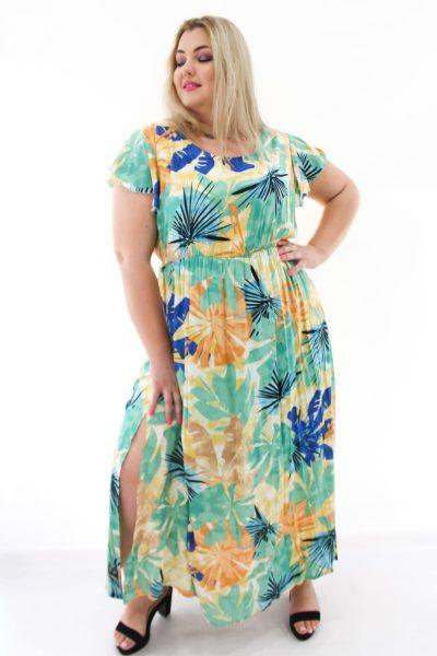 Φόρεμα floral maxi σε δροσερό βισκόζ σε 2 αποχρώσεις